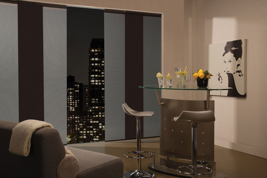 Window panels are a contemporary choice for condos and homes with large areas of glass