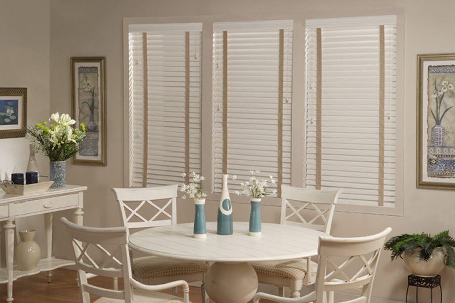 Faux wood blinds for wet areas, humid rooms, feature wipe-clean care